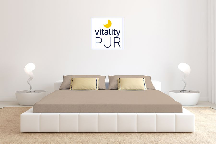 Vitality Pur jersey hoeslaken 180 x 200 Taupe