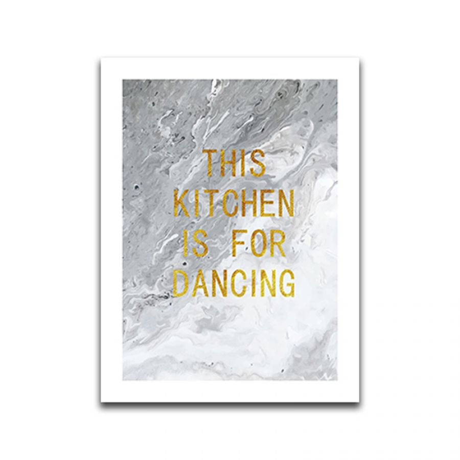 Poster Kitchen is for dancing 30 x 40 cm